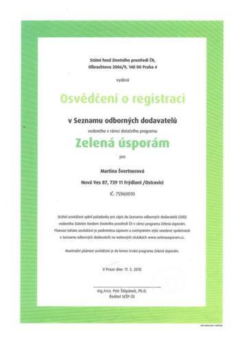 Osvědčení o registraci v Seznamu odborných dodavatelů v rámci dotačního programu Zelená úsporám