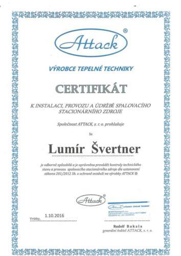 Certifikát k instalaci, provozu a údržbě spalovacího stacionárního zdroje firmy ATTACK