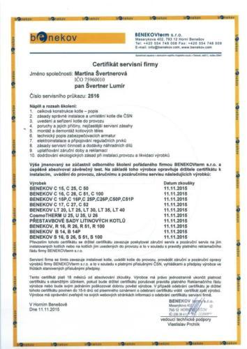 Certifikát o účasti na odborném školení firmy Benekov term s.r.o.