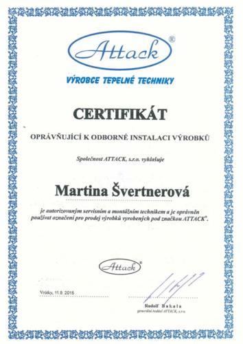 Certifikát opravňující k odborné instalaci výrobků firmy ATTACK